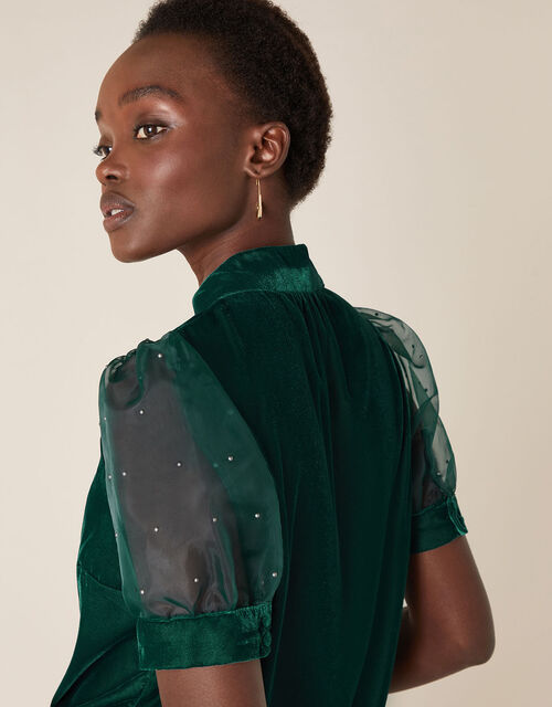 Organza Sleeve Velvet Top, Green (DARK GREEN), large