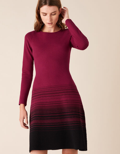 Ombre Knit Dress with Sustainable Viscose, Red (BERRY), large