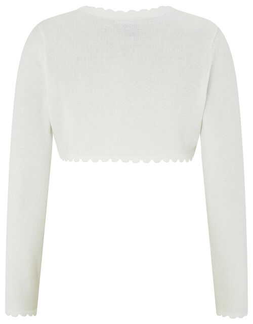 Niamh Sparkle Knit Cardigan with Crystal Button, Ivory (IVORY), large