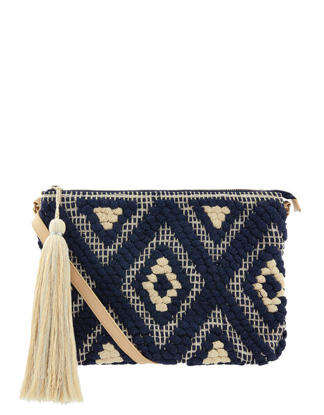 Cotton Weave Cross-Body Bag, , large
