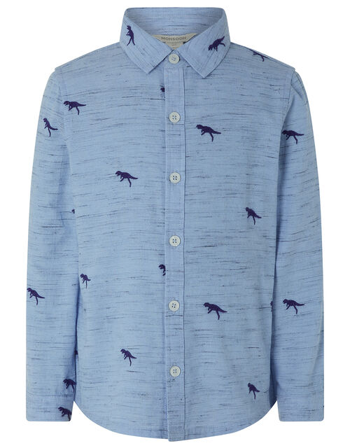 Harrison Dinosaur Cotton Shirt, Blue (NAVY), large