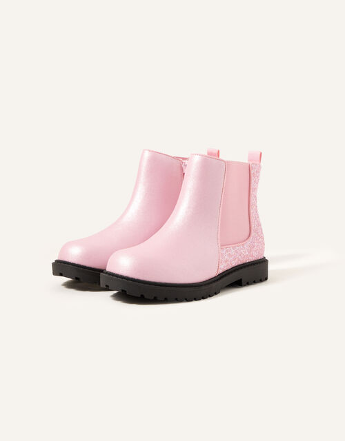 Glitter Chelsea Boots, Pink (PINK), large