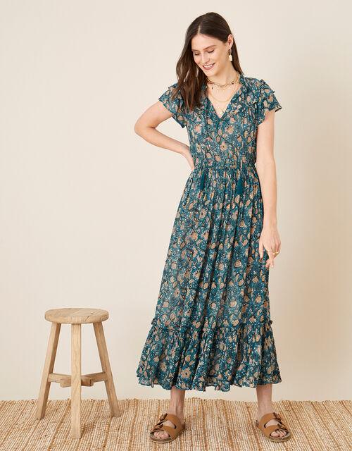 ARTISAN STUDIO Printed Maxi Dress , Blue (BLUE), large