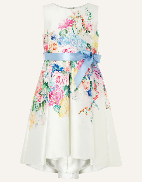 Floral Print High-Low Dress Ivory, Ivory (IVORY), large