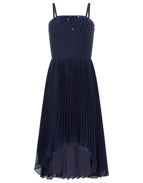 Vienna Sequin Hanky Hem Occasion Dress, Blue (NAVY), large