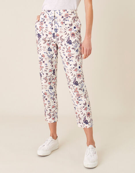 Floral Print Trousers Ivory, Ivory (IVORY), large