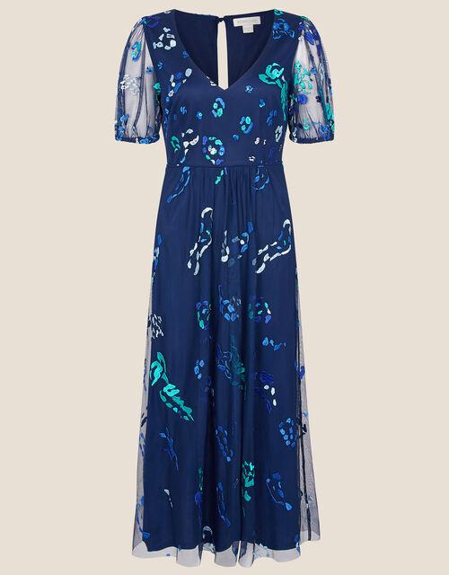 Ana Animal Embroidered Midi Dress, Blue (NAVY), large