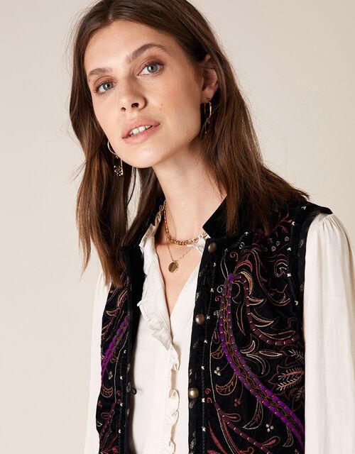 Embroidered Velvet Waistcoat, Black (BLACK), large