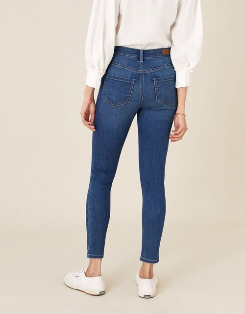 Iris Short-Length Skinny Jeans, Blue (DENIM BLUE), large