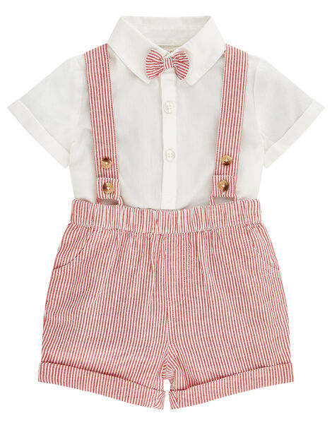 Newborn Baby Archie Dungaree Set Red, Red (RED), large