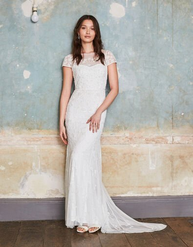 Sophie Beaded Floral Bridal Dress Ivory, Ivory (IVORY), large