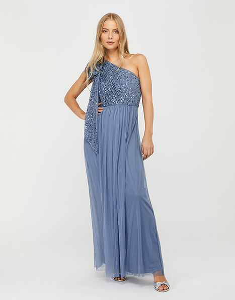 Odell Sustainable Sequin One-Shoulder Maxi Dress Blue, Blue (BLUE), large