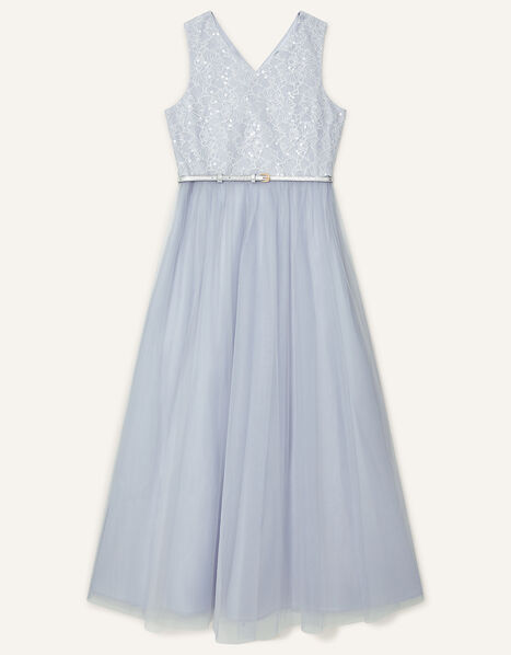 Sequin Lace Bodice Prom Dress Grey, Grey (GREY), large