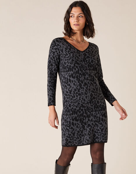 Animal Jacquard Dress with Recycled Fabric Grey, Grey (CHARCOAL), large