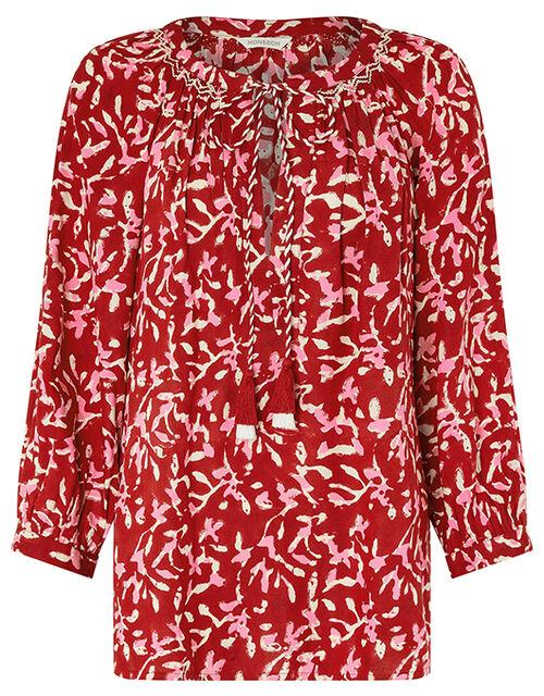 ASHOKA Blake Woodblock Blouse in LENZING™ ECOVERO™, Red (RED), large