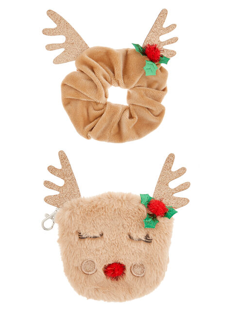 Festive Reindeer Purse and Scrunchie Set, , large