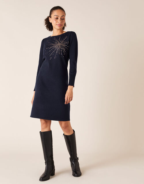 Starburst Heat-Seal Gem Knit Dress, Blue (NAVY), large