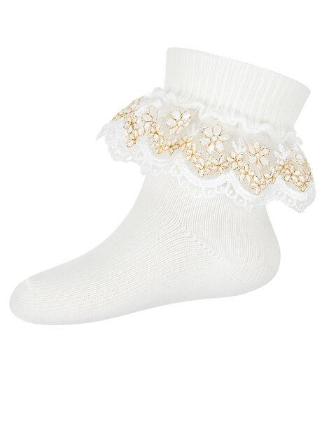 Baby Chloe Sparkle Lace Sock Ivory, Ivory (IVORY), large