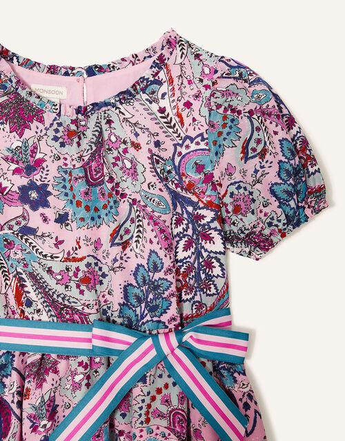 Paisley Print Hanky Hem Dress, Pink (PALE PINK), large