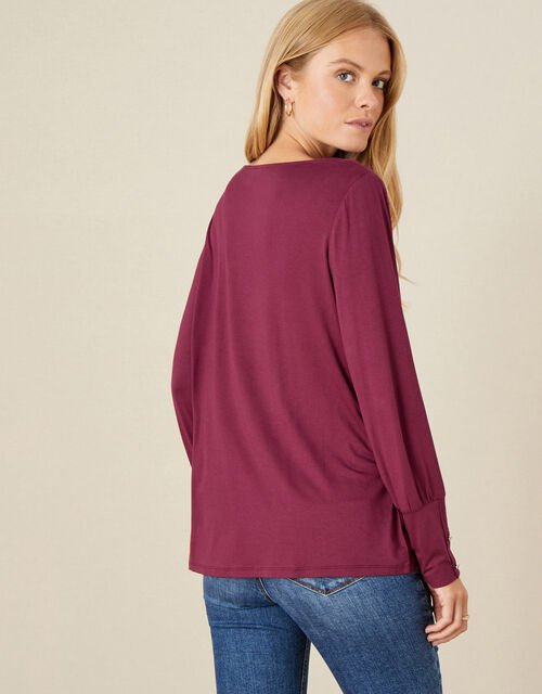 Carley Cowl Neck Top, Red (BERRY), large
