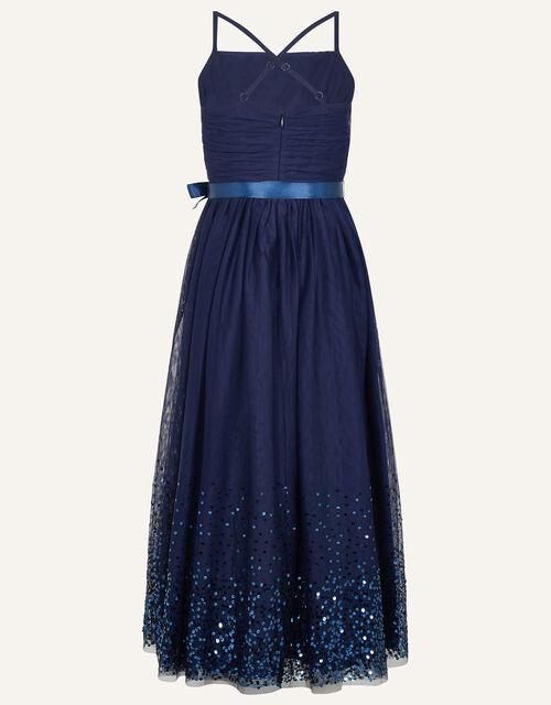 Lana Sequin Hem Maxi Prom Dress, Blue (NAVY), large