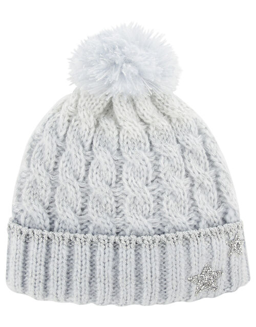 Evie Star Cable Knit Beanie, Blue (BLUE), large