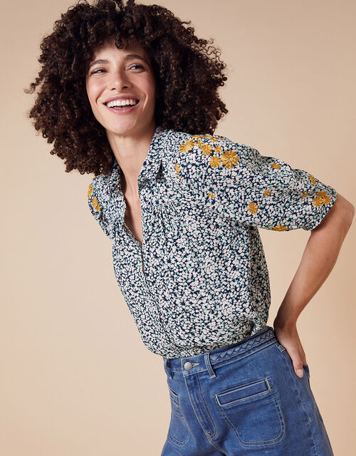 Ditsy Floral Embroidered Shirt in Sustainable Viscose, Ivory (IVORY), large