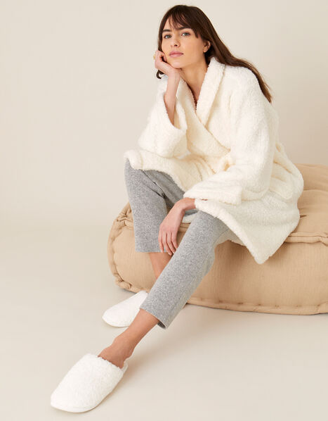 LOUNGE Fluffy Dressing Gown Ivory, Ivory (IVORY), large