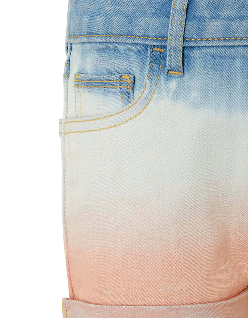 Darlene Tie-Dye Denim Shorts, Blue (BLUE), large