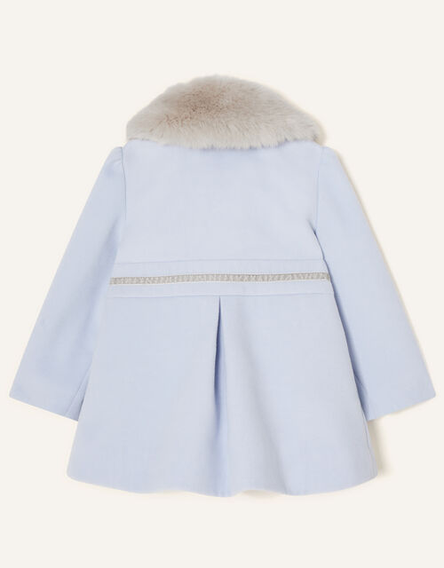 Baby Fluffy Collar Bow Coat, Blue (PALE BLUE), large