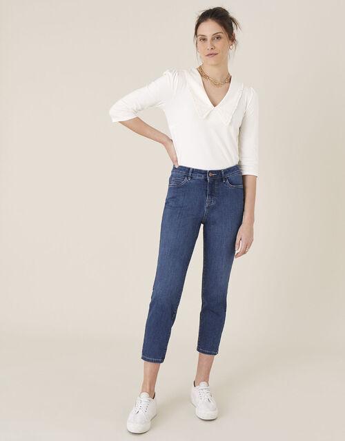 Safaia Crop Jeans with Organic Cotton, Blue (DENIM BLUE), large