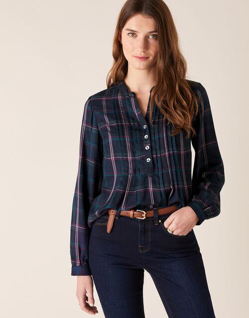 Check Longline Shirt, Blue (NAVY), large