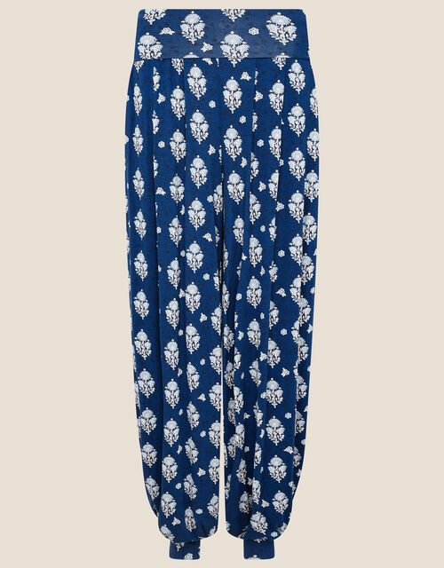 Woodblock Print Hareem Trousers, Blue (NAVY), large