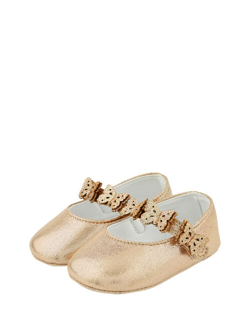 Baby Savannah Butterfly Bootie Shoes, Gold (GOLD), large