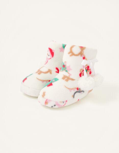 Christmas Fluffy Slipper Boots Multi, Multi (MULTI), large