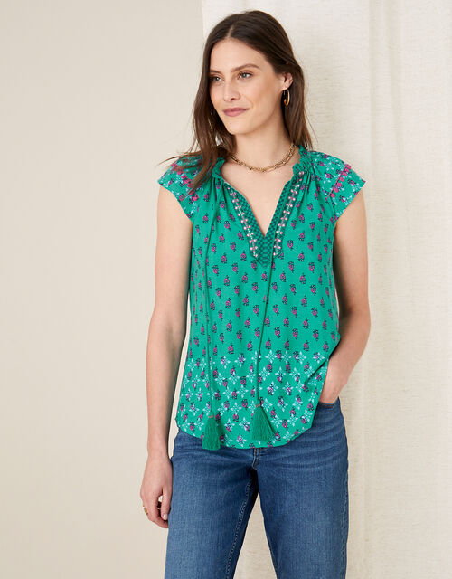 Roopa Embroidered Top , Green (GREEN), large