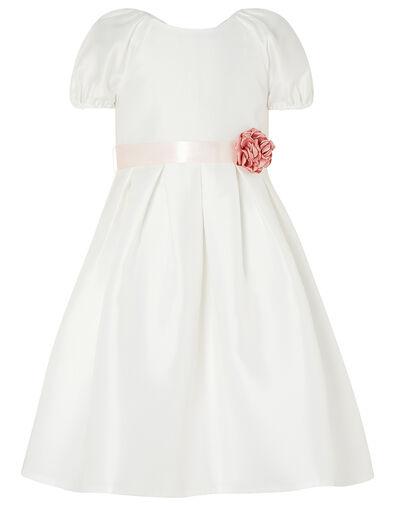 Corsage Belt Puff Sleeve Dress Ivory, Ivory (IVORY), large