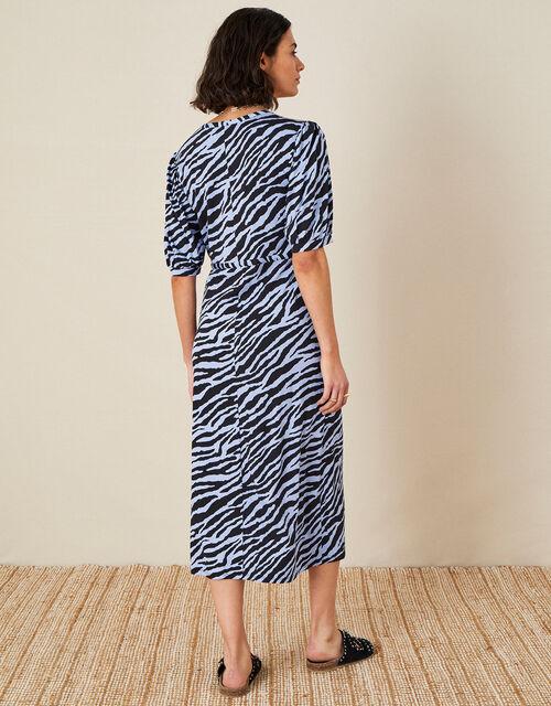Animal Print Jersey Midi Dress, Blue (BLUE), large