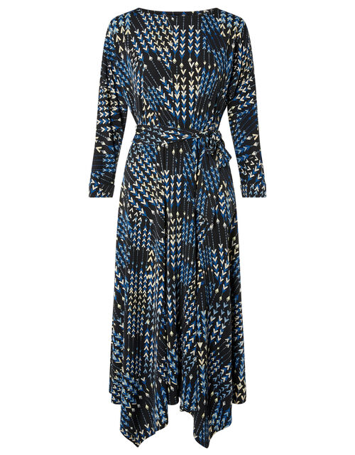 Angeline Arrow Print Hanky Hem Dress, Black (BLACK), large
