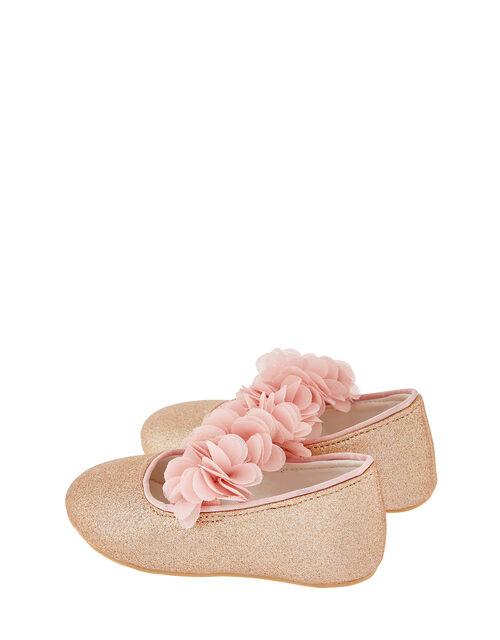 Baby Abilene Corsage Glitter Walker Shoes, Gold (ROSE GOLD), large