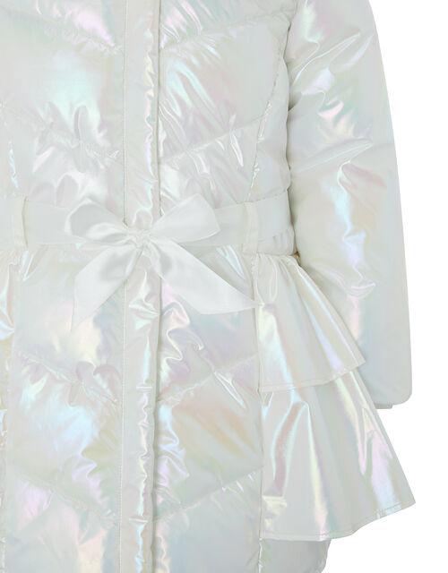 Holographic Frill Padded Coat, Ivory (IVORY), large