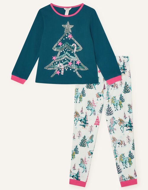 Unicorn Christmas Tree Pyjama Set , Green (GREEN), large