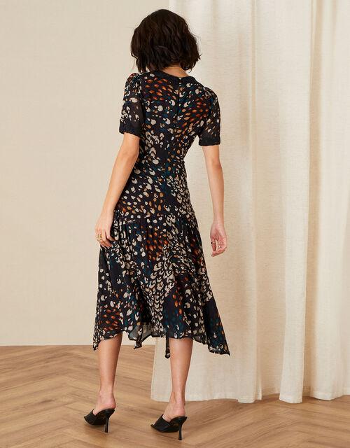 Fia Feather Print Hanky Hem Dress, Black (BLACK), large