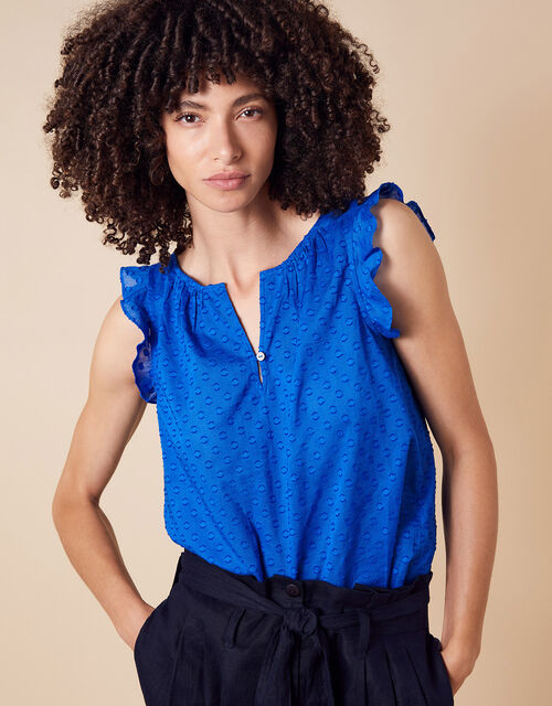 Dobby Top in Organic Cotton, Blue (BLUE), large