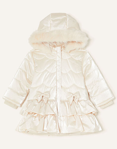 Baby Padded Satin Coat Natural, Natural (CHAMPAGNE), large