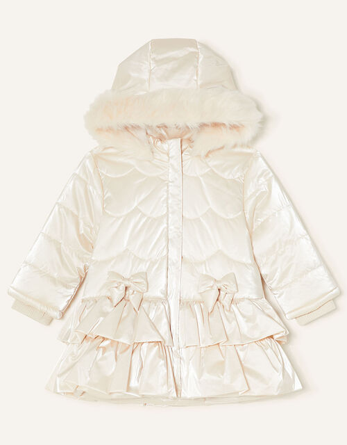Baby Padded Satin Coat, Natural (CHAMPAGNE), large
