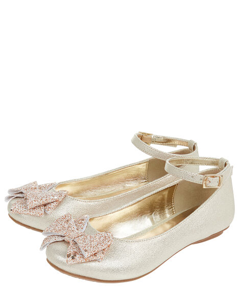 Giselle Glitter Bow Ballerina Shoes Gold, Gold (GOLD), large