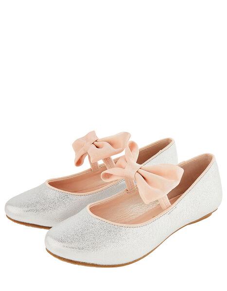 Samira Bow Glitter Ballerina Shoes Silver, Silver (SILVER), large
