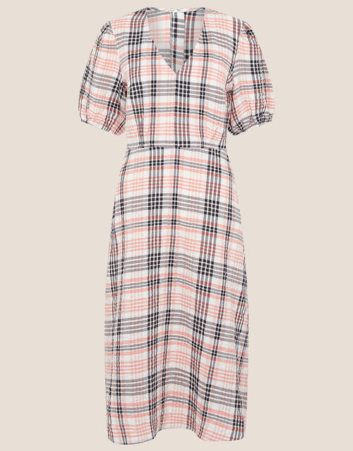 Check Print Textured Midi Dress, Natural (STONE), large