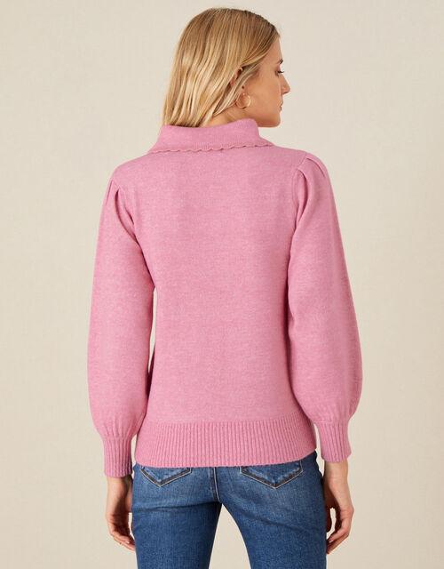 Eloise Floral Collared Jumper, Pink (PINK), large